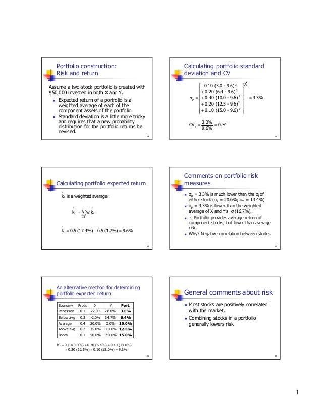 Portfolio construction: Risk and return  Calculating portfolio standard deviation and CV  0.10 (3.0 - 9.6) 2  + 0.20 (6....