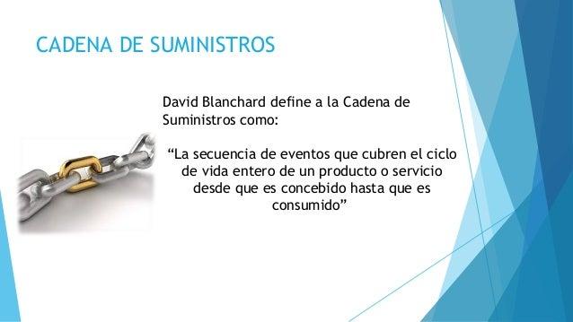 """CADENA DE SUMINISTROS David Blanchard define a la Cadena de Suministros como: """"La secuencia de eventos que cubren el ciclo..."""