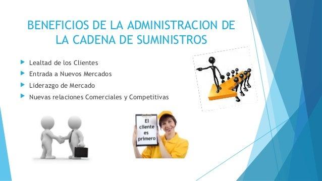 BENEFICIOS DE LA ADMINISTRACION DE LA CADENA DE SUMINISTROS  Lealtad de los Clientes  Entrada a Nuevos Mercados  Lidera...