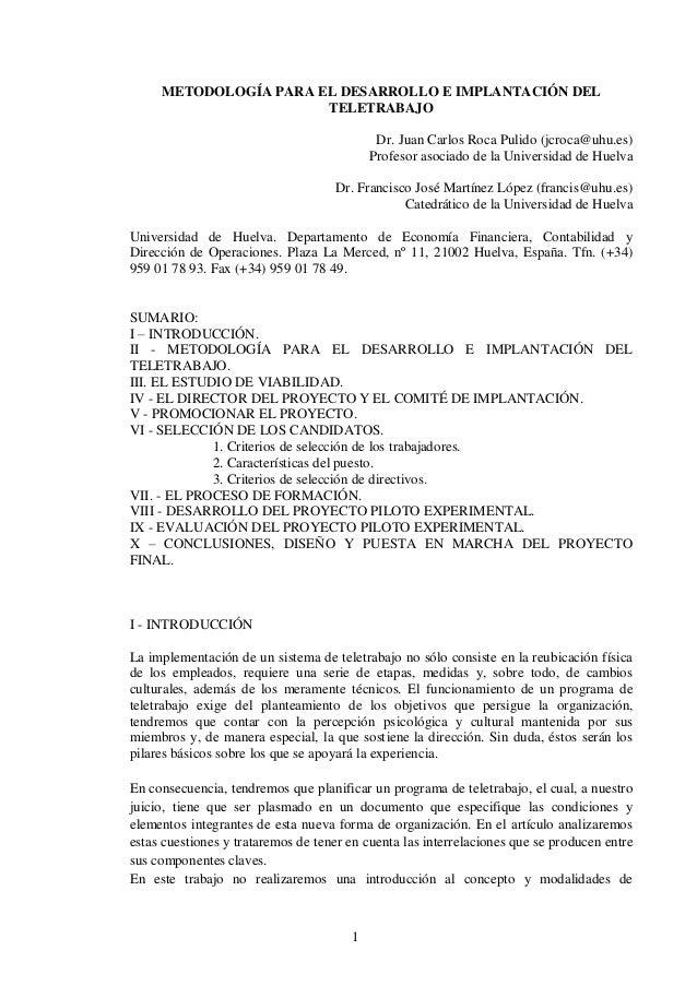 METODOLOGÍA PARA EL DESARROLLO E IMPLANTACIÓN DEL                       TELETRABAJO                                       ...