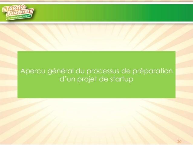 Apercu général du processus de préparation d'un projet de startup  20
