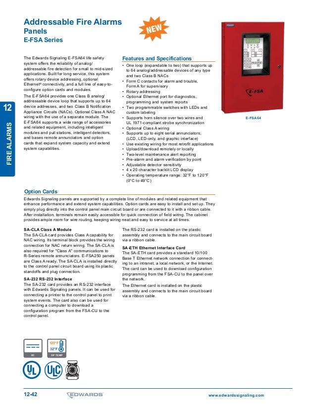 www.edwardssignaling.com12-42 T M FIREALARMS 12 Addressable Fire Alarms Panels E-FSA Series The Edwards Signaling E-FSA64 ...