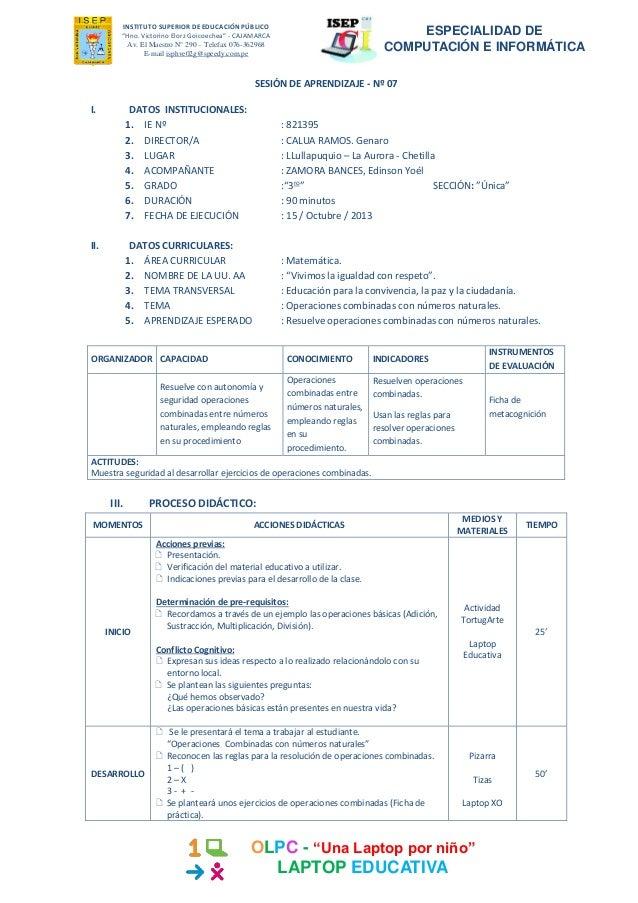 SESIÓN DE APRENDIZAJE - Operaciones combinadas