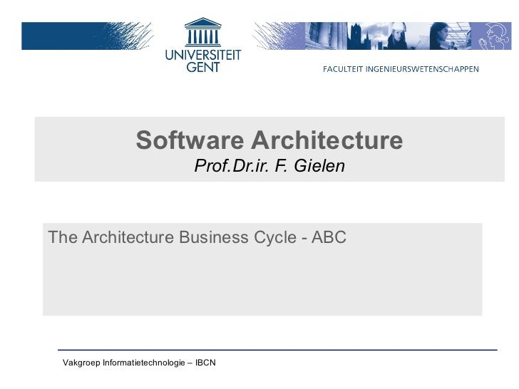 Software Architecture                                Prof.Dr.ir. F. GielenThe Architecture Business Cycle - ABC Vakgroep I...