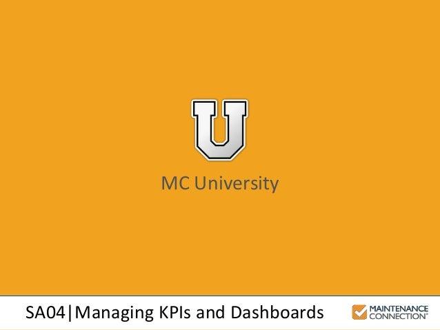 MC University SA04|Managing KPIs and Dashboards