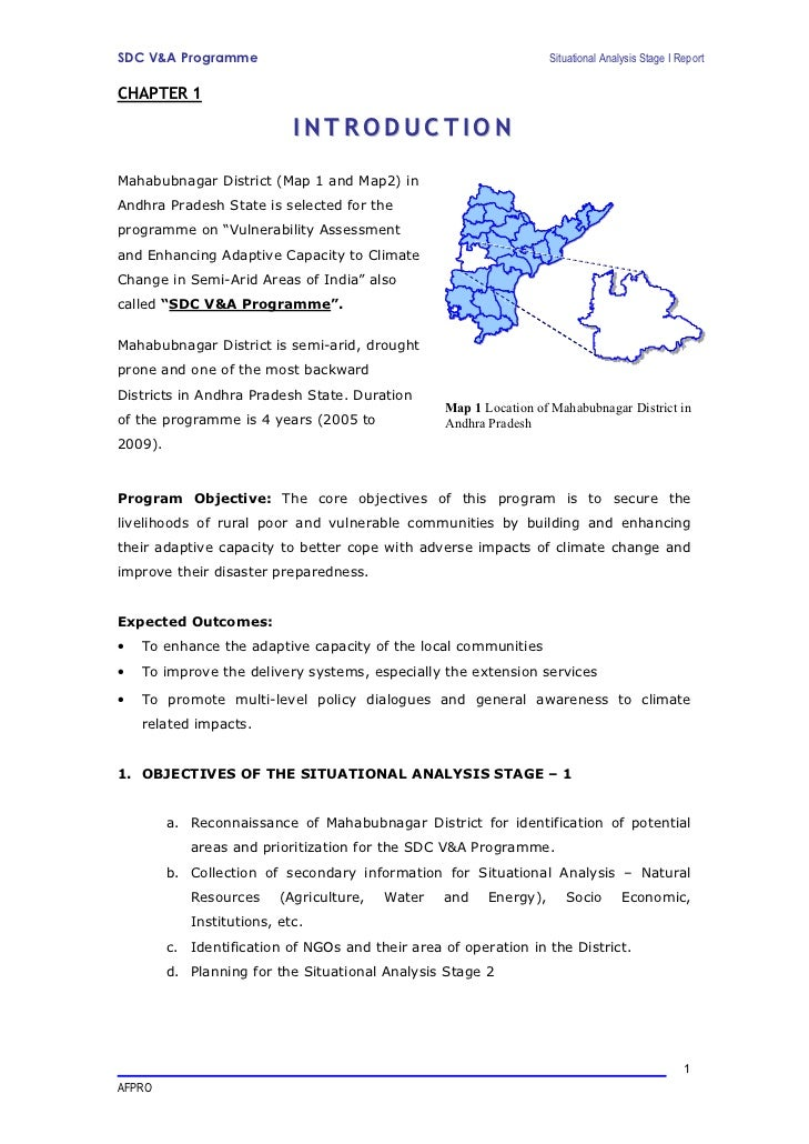 SDC V&A Programme                                                   Situational Analysis Stage I ReportCHAPTER 1          ...