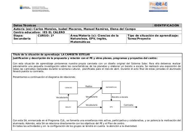 Datos Técnicos IDENTIFICACIÓN Autor/a (es): Carlos Morales, Isabel Placeres, Manuel Ramírez, Elena del Campo Centro educat...