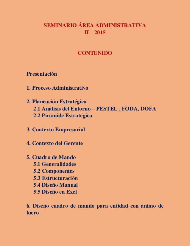 SEMINARIO ÁREA ADMINISTRATIVA II – 2015 CONTENIDO Presentación 1. Proceso Administrativo 2. Planeación Estratégica 2.1 Aná...