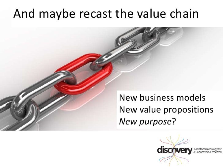 And maybe recast the value chain<br />New business modelsNew value propositionsNew purpose?<br />