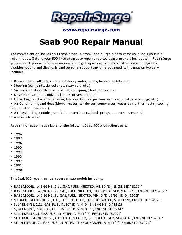 saab 900 repair manual 1990 1998 rh slideshare net saab 900 repair manual pdf saab 900 ng repair manual