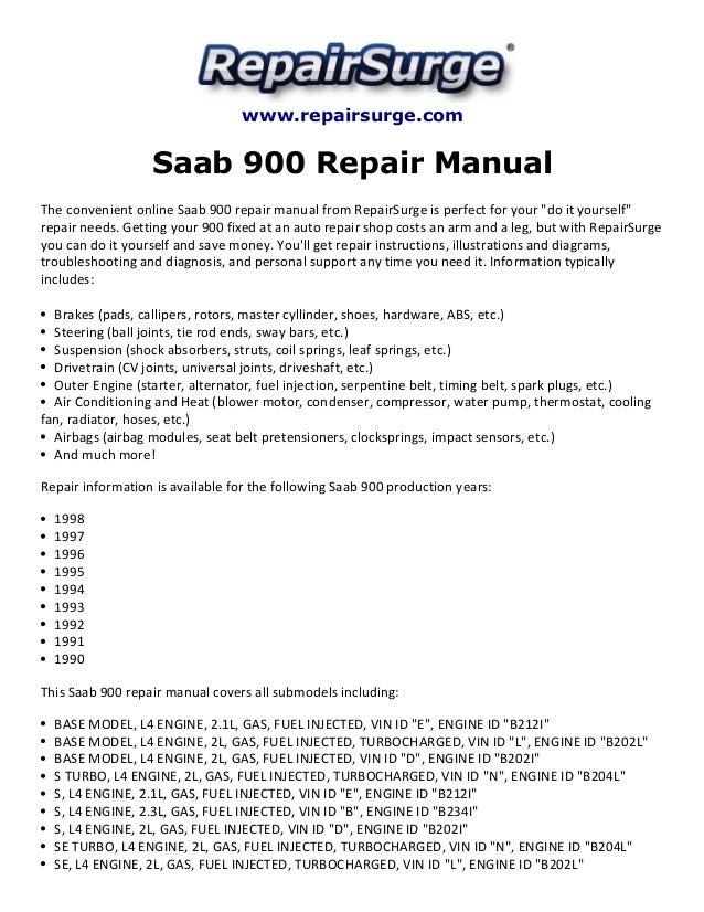 saab 900 repair manual 1990 1998 rh slideshare net 1996 Saab 900s Manual Saab 900 Turbo Convertible