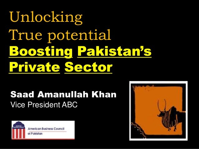 Unlocking True potential Boosting Pakistan's Private Sector Saad Amanullah Khan Vice President ABC