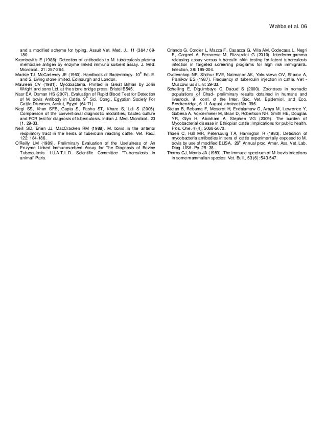 and a modified scheme for typing. Assuit Vet. Med. J., 11 (3&4.169- 180. Krambovitis E (1986). Detection of antibodies to ...