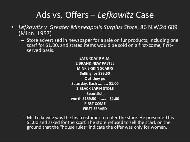 Lefkowitz v. Great Minneapolis Surplus Store, Inc explained