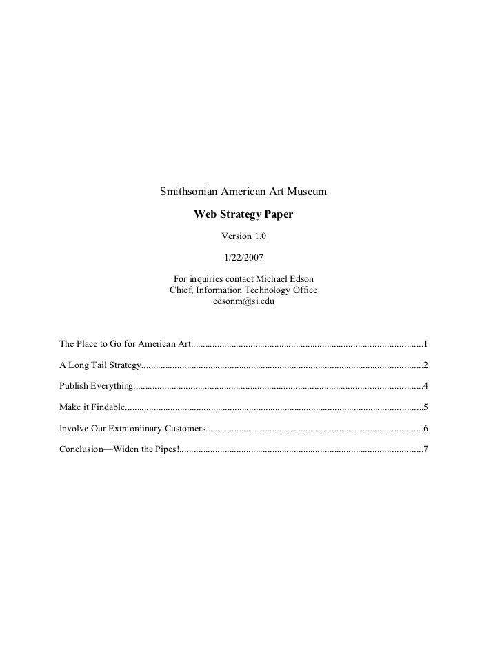 Smithsonian American Art Museum                                                     Web Strategy Paper                    ...