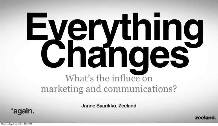 Everything                      Changes        What's the influce on                                marketing and communic...