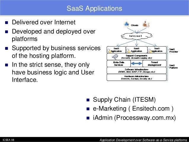 "ICSEA 08 Application Development over Software-as-a-Service platforms  SaaS Applications  ""  Delivered over Internet  ""  D..."