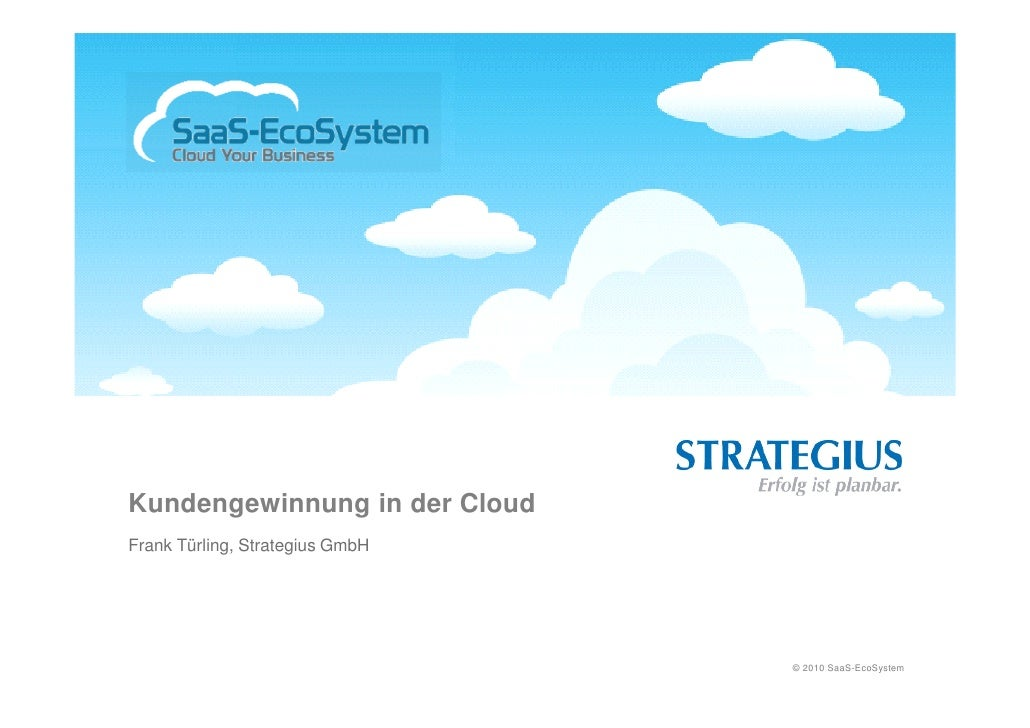 Kundengewinnung in der Cloud Frank Türling, Strategius GmbH                                      © 2010 SaaS-EcoSystem