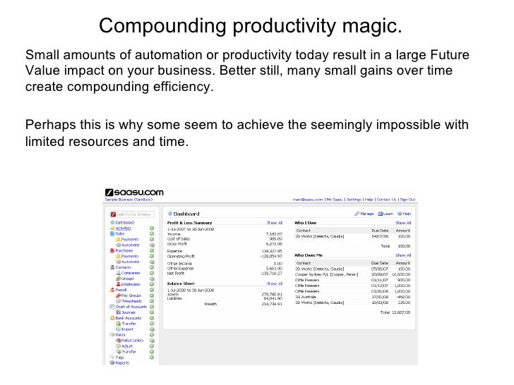 Compounding productivity magic. Small amounts of automation or productivity today result in a large Future Value impact on...