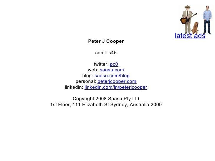 latest ads                  Peter J Cooper                      cebit: s45                       twitter: pc0             ...