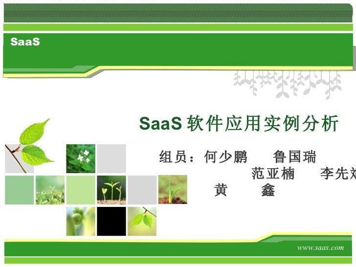 SaaS 软件应用实例分析 www.saas.com 组员:何少鹏  鲁国瑞 范亚楠  李先斌   黄  鑫