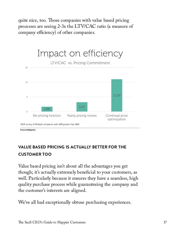 The SaaS CEO's Guide to Happier Customers 17 quite nice, too. Those companies with value based pricing processes are seein...