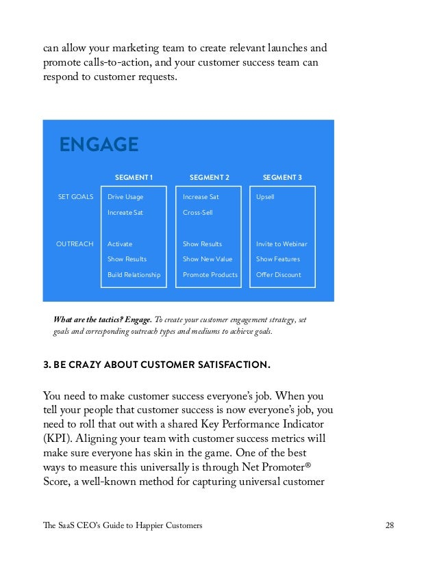 The SaaS CEO's Guide to Happier Customers 28 can allow your marketing team to create relevant launches and promote calls-t...