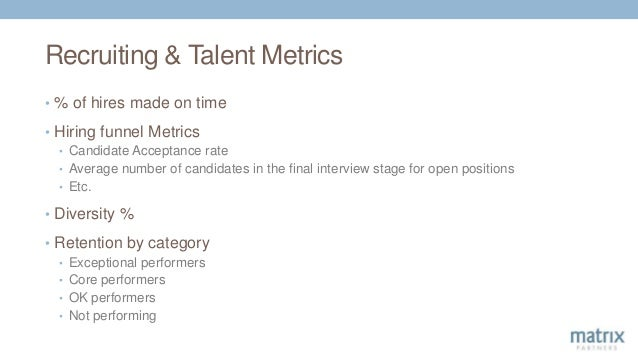 Recruiting & Talent Metrics • % of hires made on time • Hiring funnel Metrics • Candidate Acceptance rate • Average number...