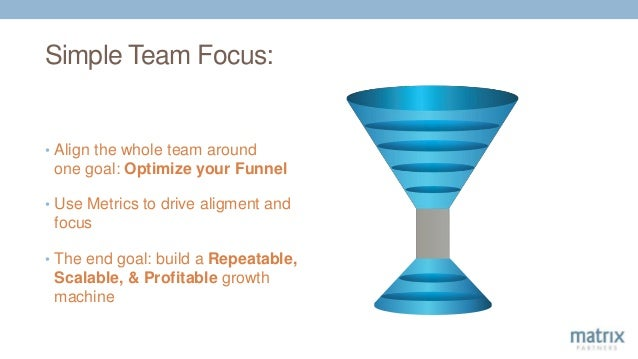 Simple Team Focus: • Align the whole team around one goal: Optimize your Funnel • Use Metrics to drive aligment and focus ...
