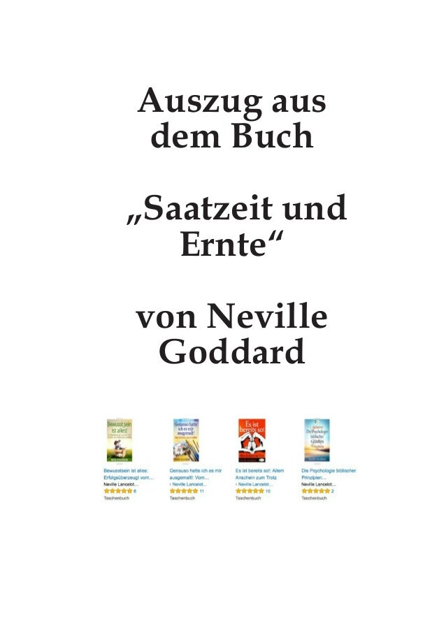 """Auszug aus dem Buch """"Saatzeit und Ernte"""" von Neville Goddard"""