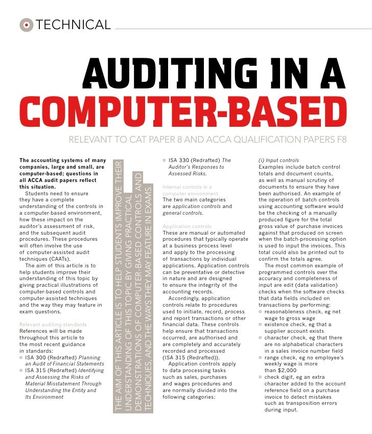 technical   auditing in acomputer-based      RELEVANT TO cat paper 8 and ACCA QUALIFICATION PAPERs f8The accounting system...