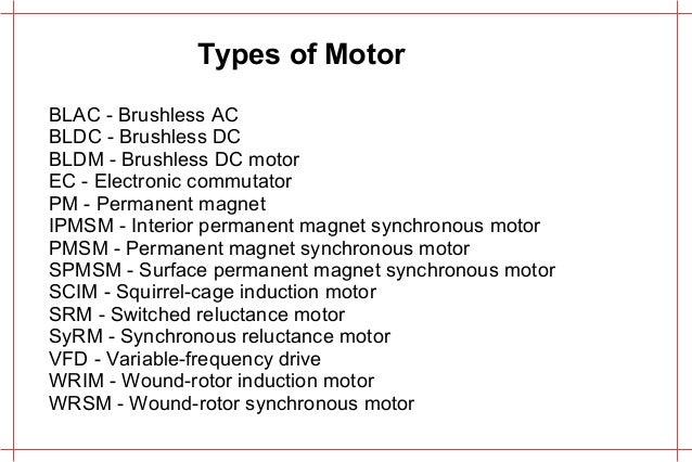 Various Electric Motors and comparison
