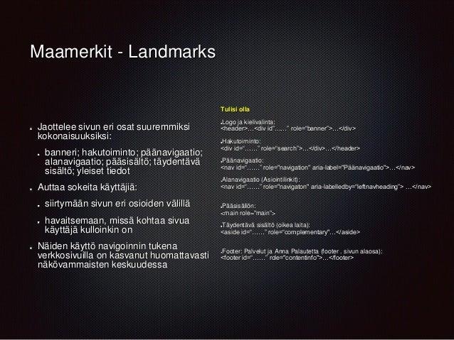 Maamerkit - Landmarks Jaottelee sivun eri osat suuremmiksi kokonaisuuksiksi: banneri; hakutoiminto; päänavigaatio; alanavi...