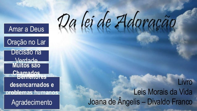 Layout de Título Subtítulo Da lei de Adoração Livro Leis Morais da Vida Joana de Ângelis – Divaldo Franco Amar a Deus Oraç...