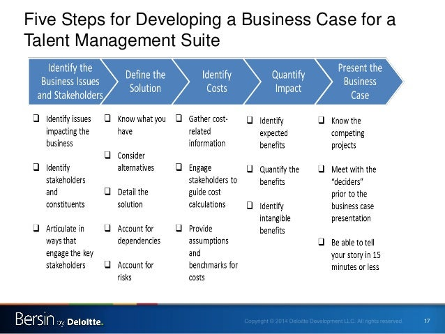 Building a business case for a talent management suite for Presenting a business case template