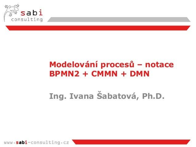 www.sabi-consulting.cz Modelování procesů – notace BPMN2 + CMMN + DMN Ing. Ivana Šabatová, Ph.D.