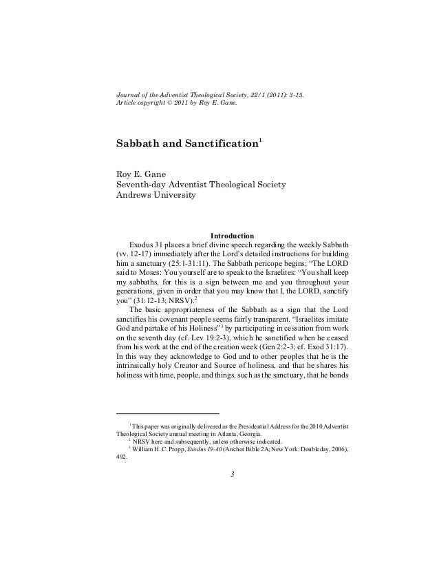 Journal of the Adventist Theological Society, 22/1 (2011): 3-15.Article copyright © 2011 by Roy E. Gane.Sabbath and Sancti...