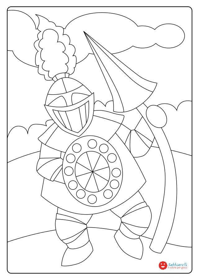 Il cavaliere disegni da colorare sabbiarelli - Cavaliere libro da colorare ...