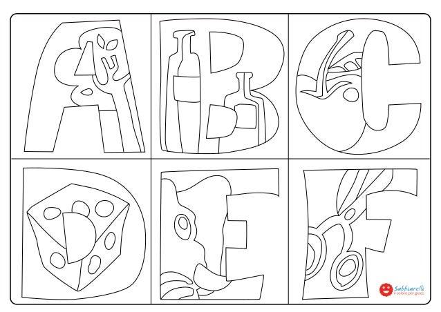 Lettere abcdef disegni da colorare sabbiarelli - Lettere animali da stampare ...