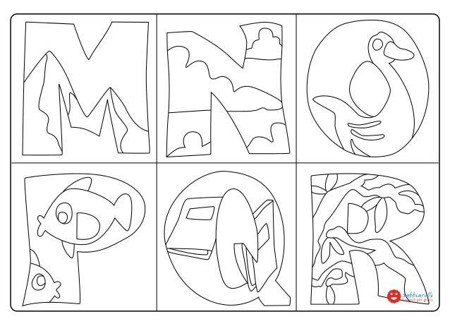 Lettere mnopqr disegni da colorare sabbiarelli - Lettere animali da stampare ...
