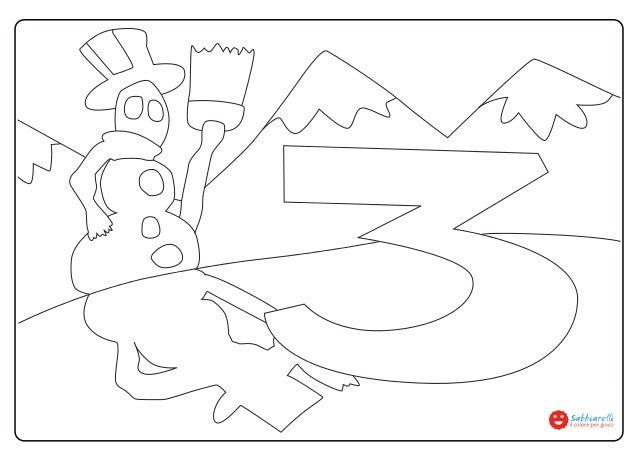 Numero 3 Disegni Da Colorare Sabbiarelli