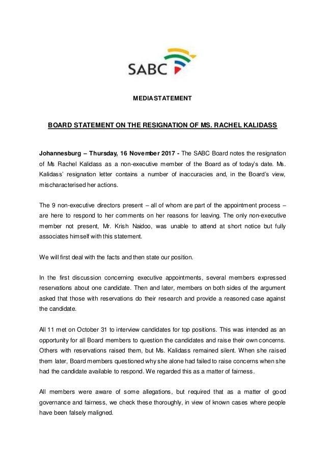 board statement on the resignation of ms rachel kalidass