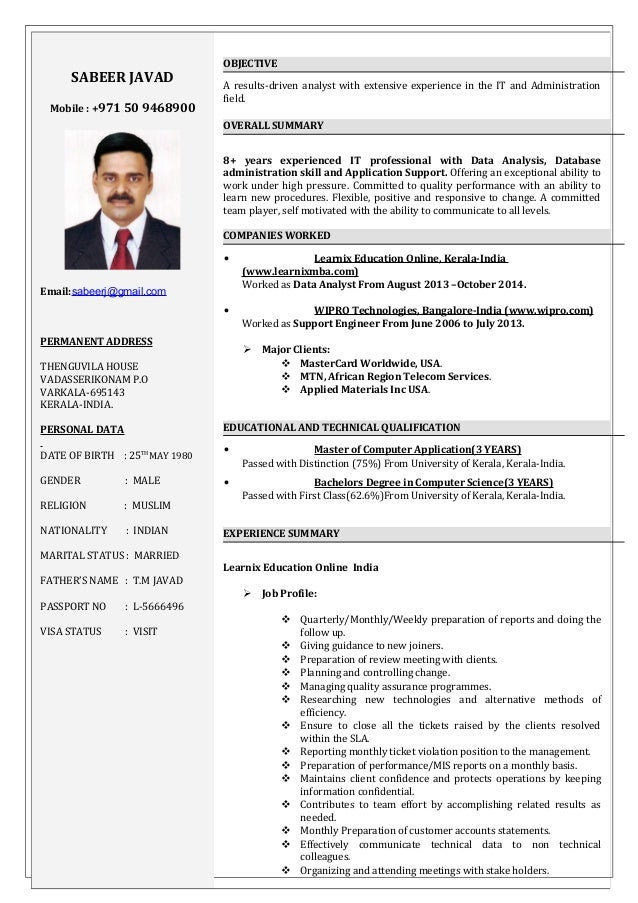 sabeer 8 yrs of experience it support engineer cv