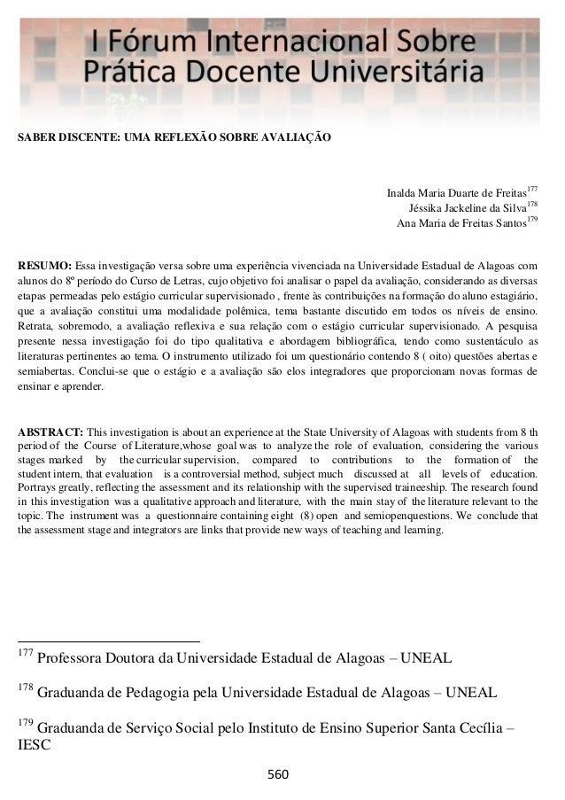SABER DISCENTE: UMA REFLEXÃO SOBRE AVALIAÇÃO  Inalda Maria Duarte de Freitas177 Jéssika Jackeline da Silva178 Ana Maria de...