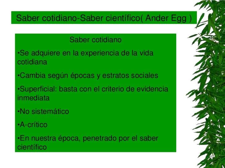 Saber cotidiano-Saber científico( Ander Egg )                  Saber cotidiano•Se adquiere en la experiencia de la vidacot...