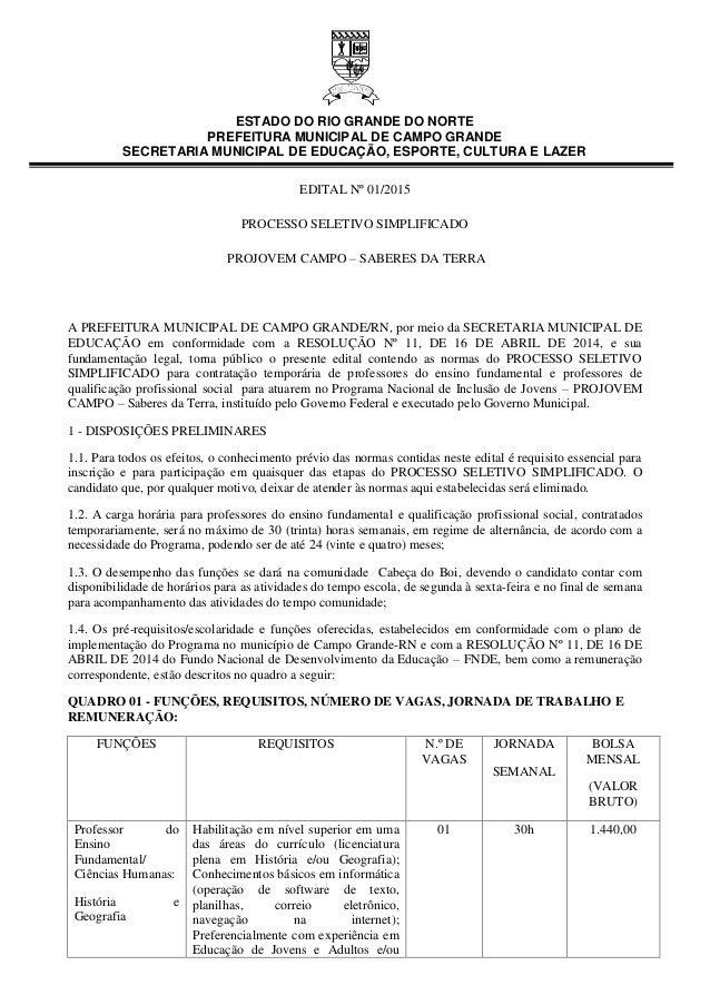 ESTADO DO RIO GRANDE DO NORTE PREFEITURA MUNICIPAL DE CAMPO GRANDE SECRETARIA MUNICIPAL DE EDUCAÇÃO, ESPORTE, CULTURA E LA...