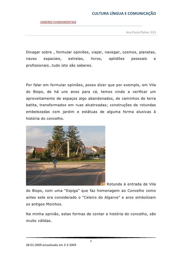 CULTURA LÍNGUA E COMUNICAÇÃO          SABERES FUNDAMENTAIS                                                                ...