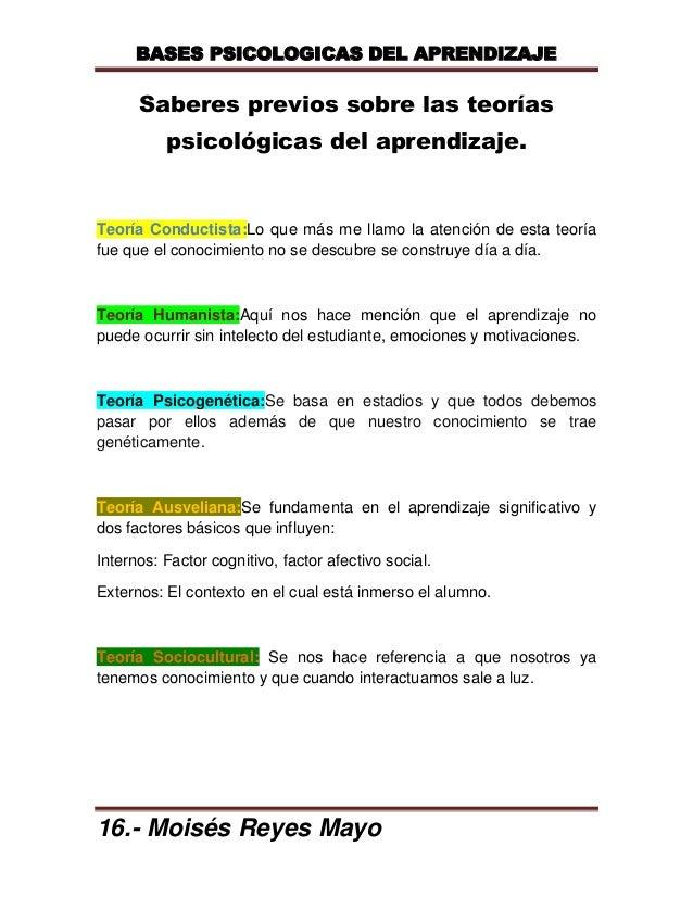 BASES PSICOLOGICAS DEL APRENDIZAJE      Saberes previos sobre las teorías          psicológicas del aprendizaje.Teoría Con...