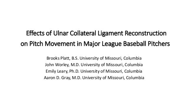 Effects of Ulnar Collateral Ligament Reconstruction on Pitch Movement in Major League Baseball Pitchers Brooks Platt, B.S....