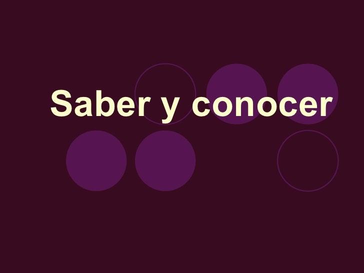 Saber Y Conocer 1